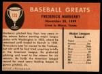 1961 Fleer #125  Fred Marberry  Back Thumbnail