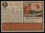 1962 Topps #285  Curt Simmons  Back Thumbnail