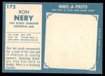 1961 Topps #172  Ron Nery  Back Thumbnail