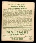 1934 Goudey #1  Jimmie Foxx  Back Thumbnail