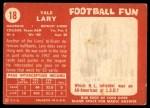 1958 Topps #18  Yale Lary  Back Thumbnail