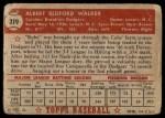 1952 Topps #319  Al Walker  Back Thumbnail