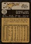 1973 Topps #110  Bob Watson  Back Thumbnail