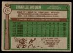 1976 Topps #174  Charlie Hough  Back Thumbnail