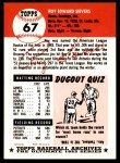 1953 Topps Archives #67  Roy Sievers  Back Thumbnail