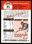1953 Topps Archives #71  Tony Bartirome  Back Thumbnail