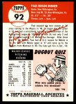 1953 Topps Archives #92  Paul Minner  Back Thumbnail