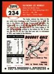 1953 Topps Archives #234  Ray Murray  Back Thumbnail