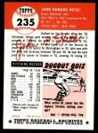 1953 Topps Archives #235  John Hetki  Back Thumbnail