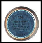1971 Topps Coins #105  Tony Perez  Back Thumbnail