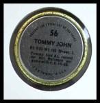 1971 Topps Coins #56  Tommy John  Back Thumbnail