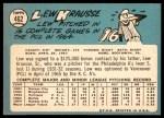 1965 Topps #462  Lew Krausse  Back Thumbnail