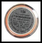 1964 Topps Coins #156   -   Tim McCarver All-Star Back Thumbnail