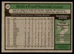 1979 Topps #47  Fred Norman  Back Thumbnail