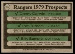 1979 Topps #713   -  Danny Darwin / Pat Putnam / Billy Sample Rangers Prospects   Back Thumbnail