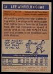 1972 Topps #33  Lee Winfield   Back Thumbnail