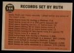 1962 Topps #144 GRN  -  Babe Ruth Farewell Speech Back Thumbnail