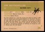 1961 Fleer #34  Jim Mutscheller  Back Thumbnail