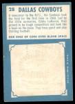 1961 Topps #28   Dallas Cowboys Back Thumbnail