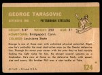 1961 Fleer #124  George Tarasovic  Back Thumbnail