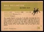 1961 Fleer #36  Bill Pellington  Back Thumbnail