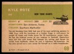 1961 Fleer #69  Kyle Rote  Back Thumbnail