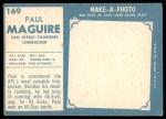 1961 Topps #169  Paul McGuire  Back Thumbnail