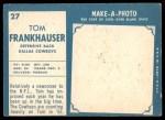 1961 Topps #27  Tom Frankhauser  Back Thumbnail