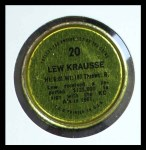 1971 Topps Coins #20  Lew Krausse  Back Thumbnail