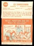 1963 Topps #105  Ed Sharockman  Back Thumbnail