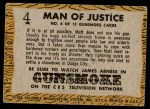 1958 Topps TV Westerns #4   Man of Justice  Back Thumbnail