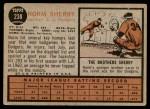 1962 Topps #238  Norm Sherry  Back Thumbnail
