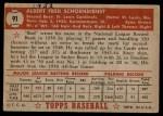 1952 Topps #91  Red Schoendienst  Back Thumbnail