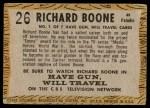1958 Topps TV Westerns #26  Richard Boone   Back Thumbnail