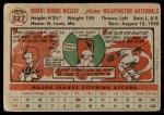 1956 Topps #327  Bob Wiesler  Back Thumbnail