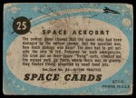 1957 Topps Space Cards #25   Space Acrobat  Back Thumbnail