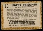 1958 Topps TV Westerns #13   Happy Prisoner  Back Thumbnail