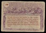 1959 Topps / Bubbles Inc You'll Die Laughing #28   And No hitting below the belt Back Thumbnail