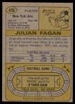 1974 Topps #436  Julian Fagan  Back Thumbnail