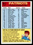 1974 Topps  Checklist   New England Patriots Team Front Thumbnail