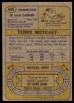 1974 Topps #444  Terry Metcalf  Back Thumbnail