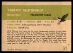 1961 Fleer #51  Tommy McDonald  Back Thumbnail