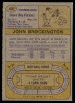1974 Topps #400  John Brockington  Back Thumbnail
