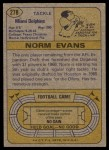 1974 Topps #278  Norm Evans  Back Thumbnail
