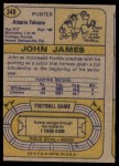 1974 Topps #348  John James  Back Thumbnail