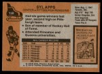 1975 Topps #130  Syl Apps   Back Thumbnail
