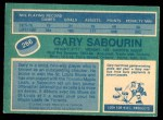 1976 O-Pee-Chee NHL #266  Gary Sabourin  Back Thumbnail