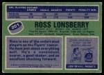 1976 Topps #201  Ross Lonsberry  Back Thumbnail