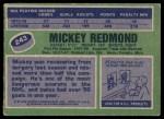 1976 Topps #243  Mickey Redmond  Back Thumbnail