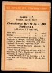 1972 O-Pee-Chee #54   Playoff Game 5  - Bruins / Rangers Back Thumbnail